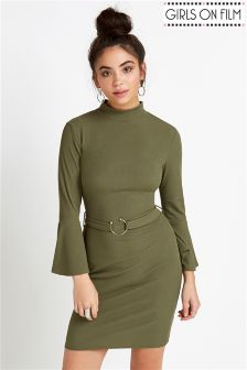 Girls On Film Rib Flare Sleeve Bodycon Dress