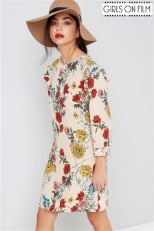 Girls On Film Ruffle Sleeve Printed Shift Dress