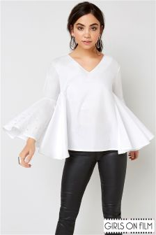 Girls On Film Flare Hem Blouse
