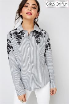 Girls On Film Embroidered Shoulder Stripe Shirt