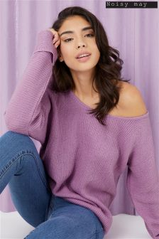 Noisy May Abbey Long Sleeve Open Shoulder Knit Top