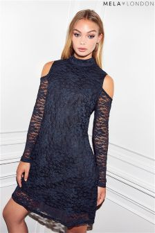 Mela London Lace Cold Shoulder Dress
