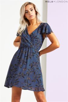 Mela London Leaf Print Wrap Front Dress