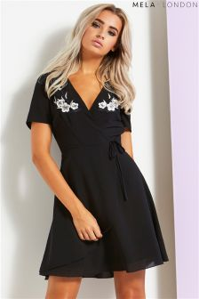 Mela London Embroidered Wrap Dress