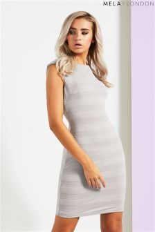 Mela London Textured Stripe Bodycon Dress