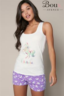Boux Avenue Unicorn Vest And Shorts