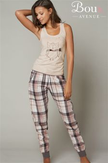 Boux Avenue Owl Vest And Cuffed Pyjama Bottoms