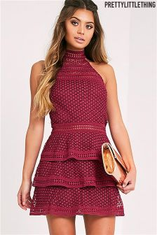 PrettyLittleThing Lace Panel Tiered Dress