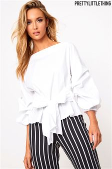 PrettyLittleThing Ruched Sleeve Bow Detail Top
