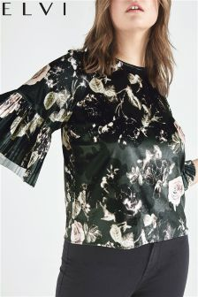 Elvi Velvet Floral Flared Sleeve Top
