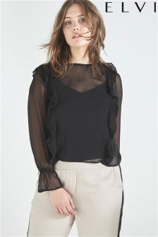 Elvi Pleated Frill Top