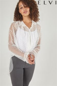Elvi Polka Dot Mesh Long Line Blouse