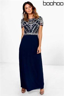 Boohoo Embellished Cap Sleeve Maxi Dress