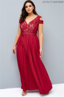 Little Mistress Curve Cold Shoulder Pleat Hem Maxi Dress