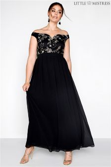 Little Mistress Curve Embroidered Bardot Maxi Dress