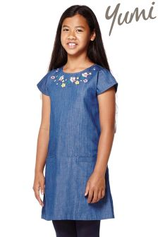 Yumi Girl Embroidered Denim Shift Dress
