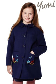 Yumi Girl Floral Embroidered Coat