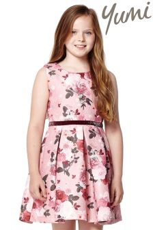 Yumi Girl Metallic Jacquard Dress
