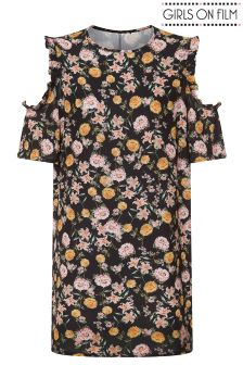 Girls On Film Curve Cold Shoulder Printed Shift Dress