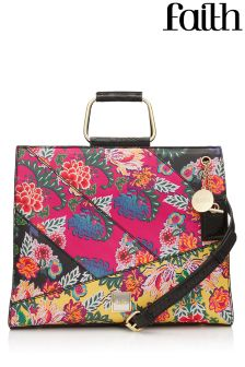 Faith Floral Patchwork Metal Handle Grab Bag