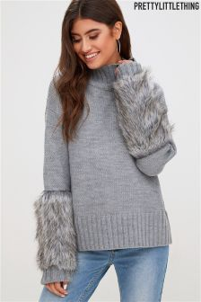 PrettyLittleThing Faux Fur Sleeve Jumper