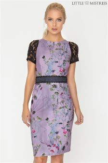 Little Mistress Lavender Print Bodycon Dress