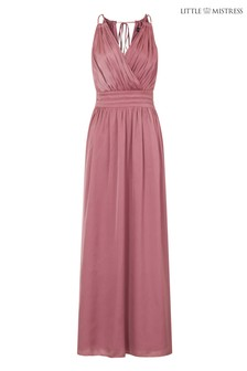 Little Mistress Wrap Satin Maxi Dress