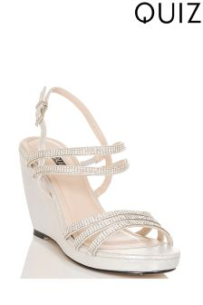 Quiz Silver Shimmer Multi Diamanté Strap Wedges