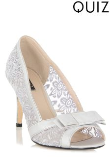 Quiz Grey Sequin Lace Bow Courts