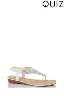 Quiz Diamanté Flat Sandals