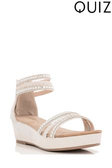 Quiz Diamanté Strap Wedge Sandals