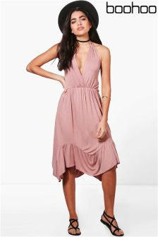 Boohoo Halter Neck Ruffle Hem Dress