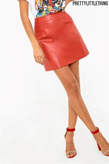 PrettyLittleThing Faux Leather A line Mini Skirt
