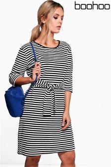 Boohoo Plus 3/4 Sleeve Tie Waist Midi Dress