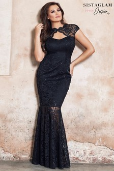 Jessica Wright Petite Keyhole Sequin Lace Maxi Dress