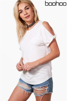 Boohoo Basic Knot Cold Shoulder T-Shirt