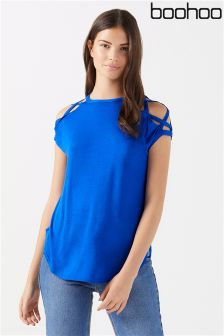 Boohoo Strappy Shoulder Detail T-Shirt