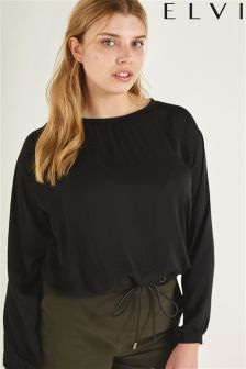 Elvi Black Drawstring Top