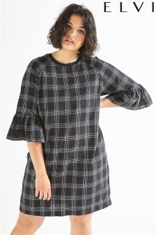 Elvi Mono Print Gingham Dress