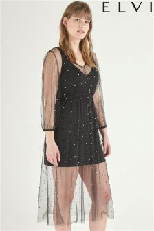 Elvi Mesh Beaded Dress