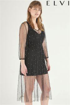 Elvi Mesh Beaded Dress