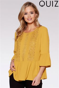 Quiz Crepe Crochet Trim Frill 3/4 Sleeve Hem Top