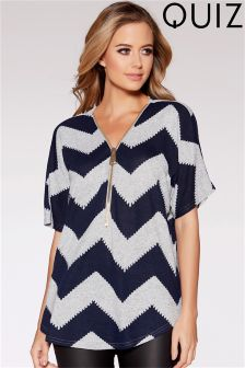 Quiz Light Knit Zip Front Zig Zag Top