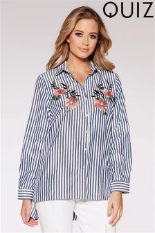 Quiz Stripe Terracotta Flower Embroidery Shirt