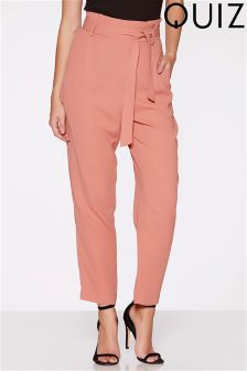 Quiz Crepe High Waist Tie Belt Tapered Trouser