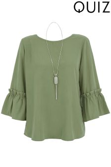 Quiz 3/4 Sleeve Ruffle Top