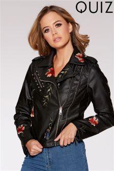 Quiz PU Embroidery & Stud Biker Jacket