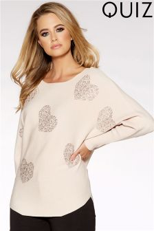 Quiz Light Knit Batwing Diamond Heart Jumper