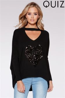 Quiz Choker Long Sleeve Sequin Jumper