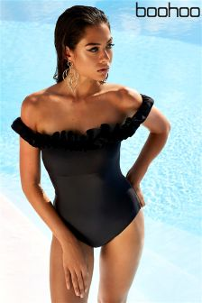 Boohoo Ruffle Bardot Swimsuit